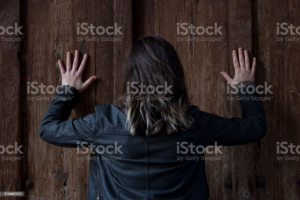 Image result for girl pushing the door