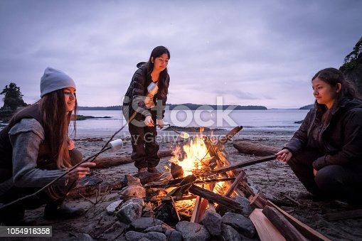 Mixed ethnic, Eurasian sisters roast marshmallows on sticks.  Bamfield, Vancouver Island, British Columbia, Canada.