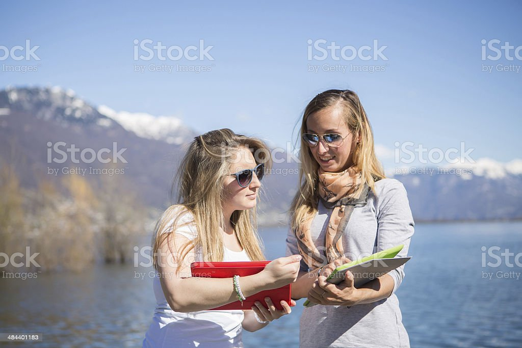 Young women sharing informations royalty-free stock photo