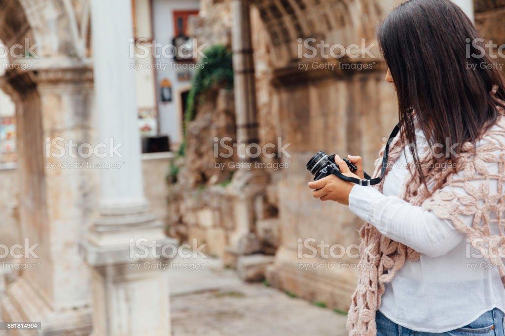 Young women shot hadrian gate stock photo