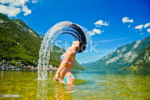 istock Young women splashing in the lake 155373068