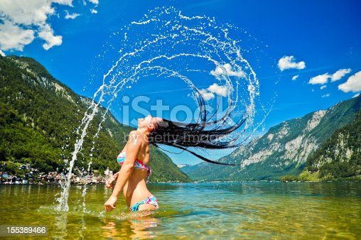 istock Young women splashing in the lake 155389466