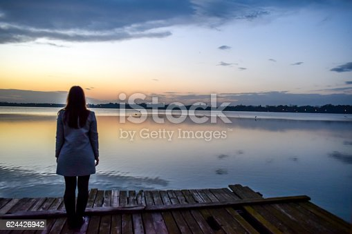 Woman, lake, pier, standing, sunset