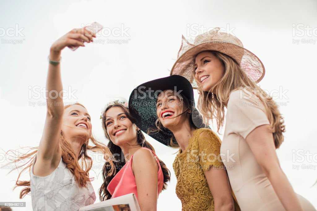 Young Women Taking a Selfie stock photo