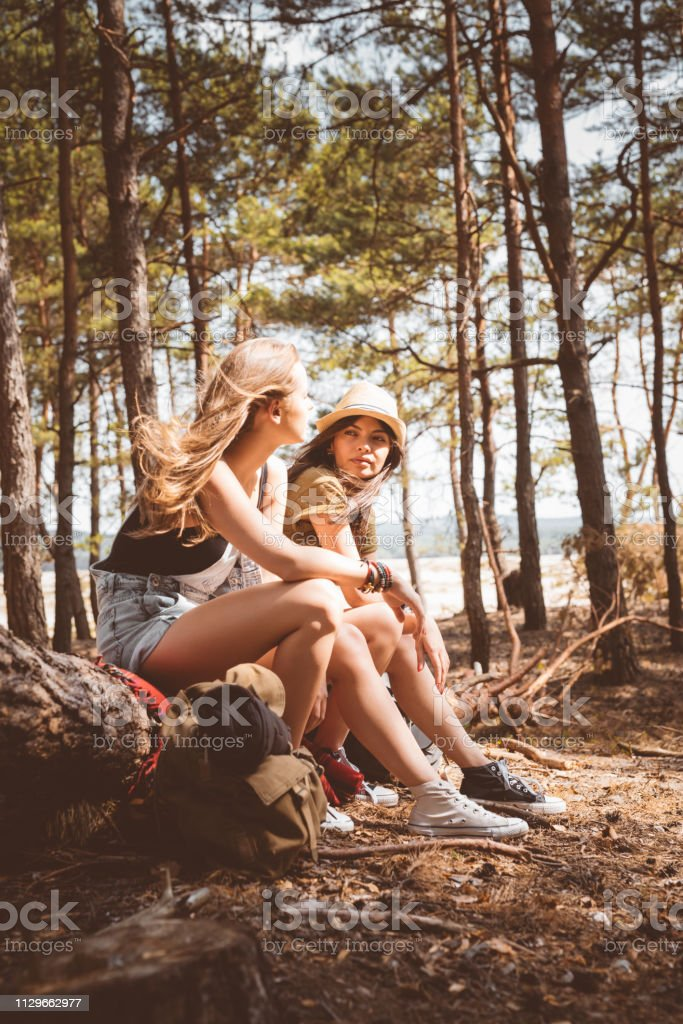 Young women talking while sitting on fallen tree Young female friends talking while sitting in forest. Full length of hikers are relaxing on fallen tree. Explorers are spending vacation together. 20-24 Years Stock Photo