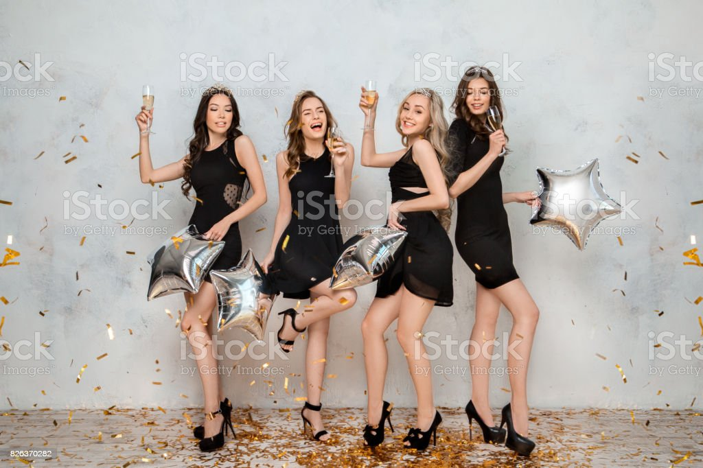 Young women together celebrating hen party isolated on white stock photo