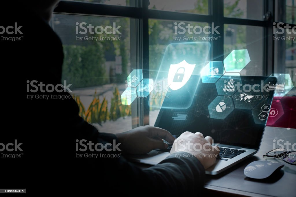 Young women using computer, Cyber security concept. - Royalty-free Abstrato Foto de stock