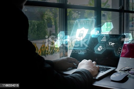 istock Young women using computer, Cyber security concept. 1166334015