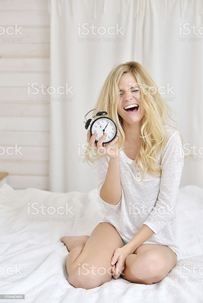 Young women waking up with sad face royalty-free stock photo