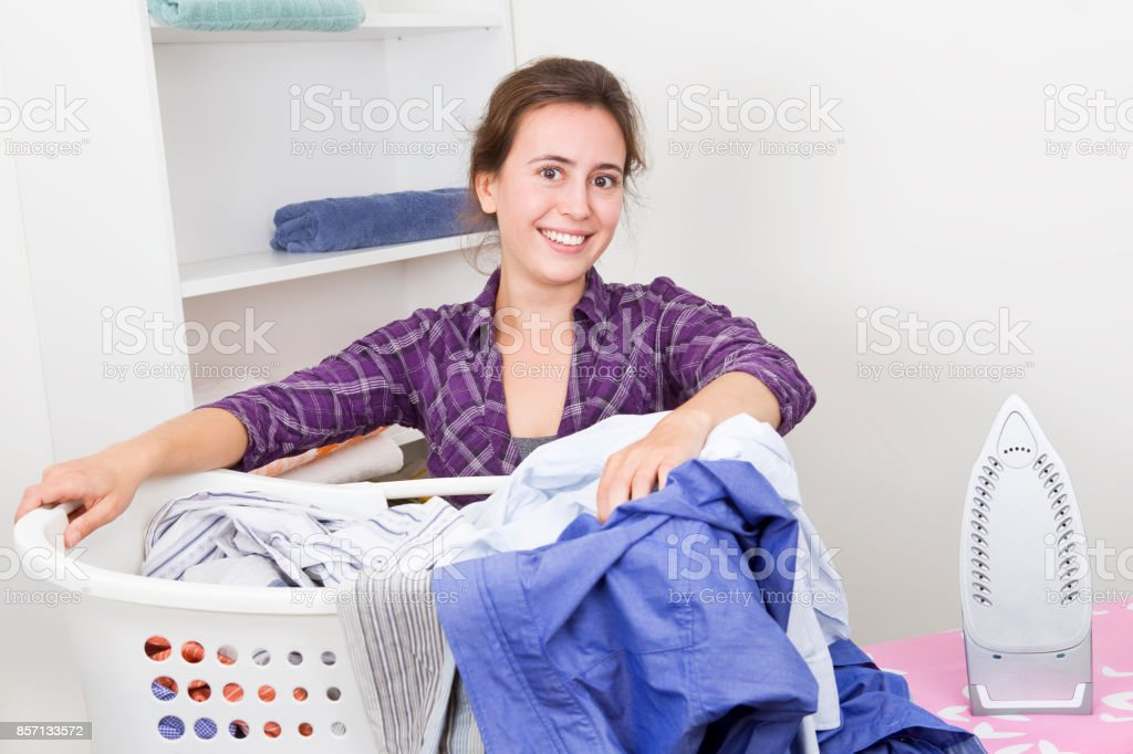 Women with basket full of clothes