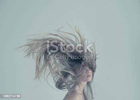 istock Young women with flying hair 1080214738
