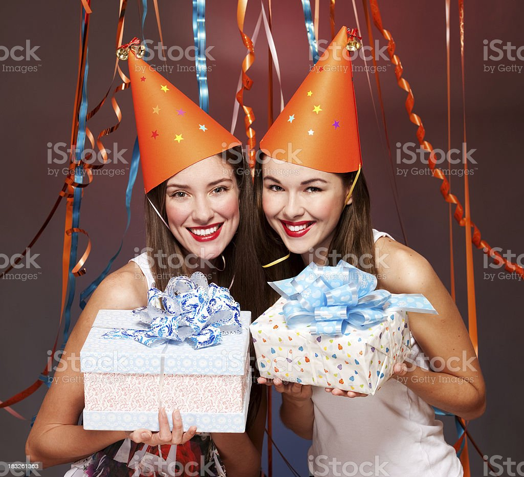 young women with  gift boxes royalty-free stock photo