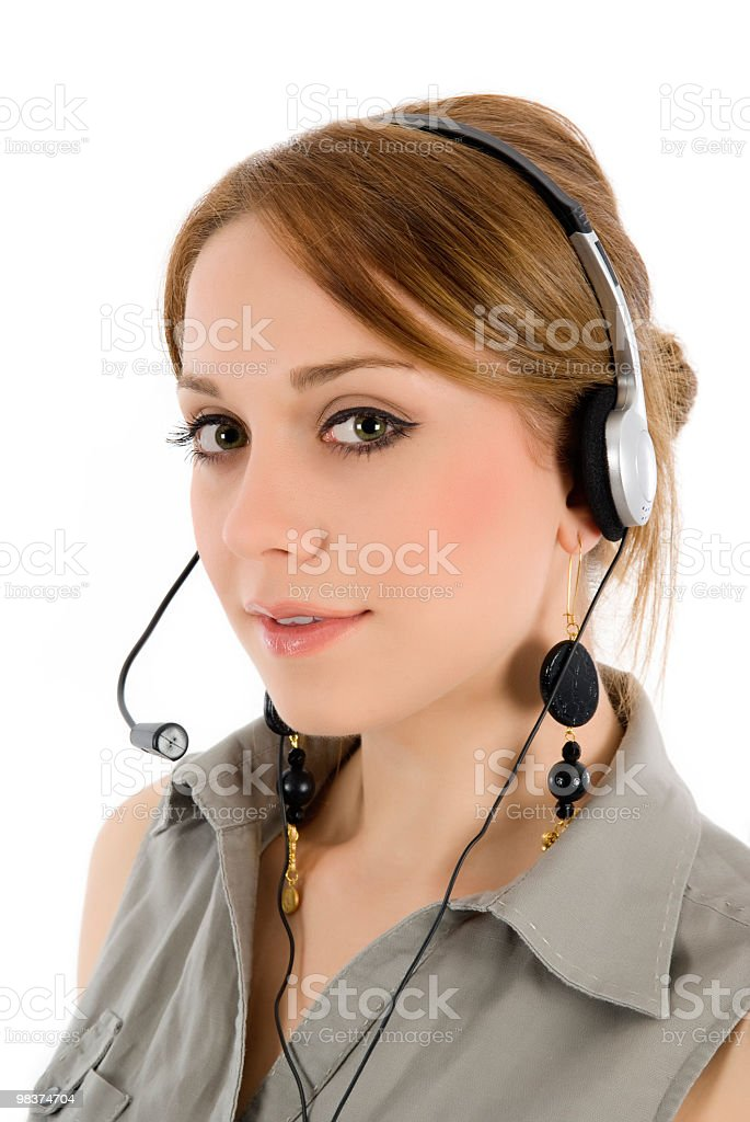 young women with headset royalty-free stock photo