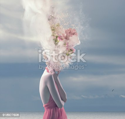 istock young women with melted head 918927608