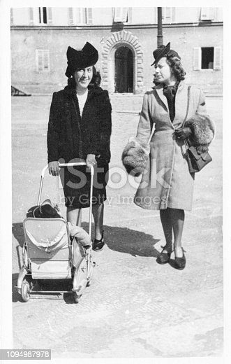 Young women with pram in 1949