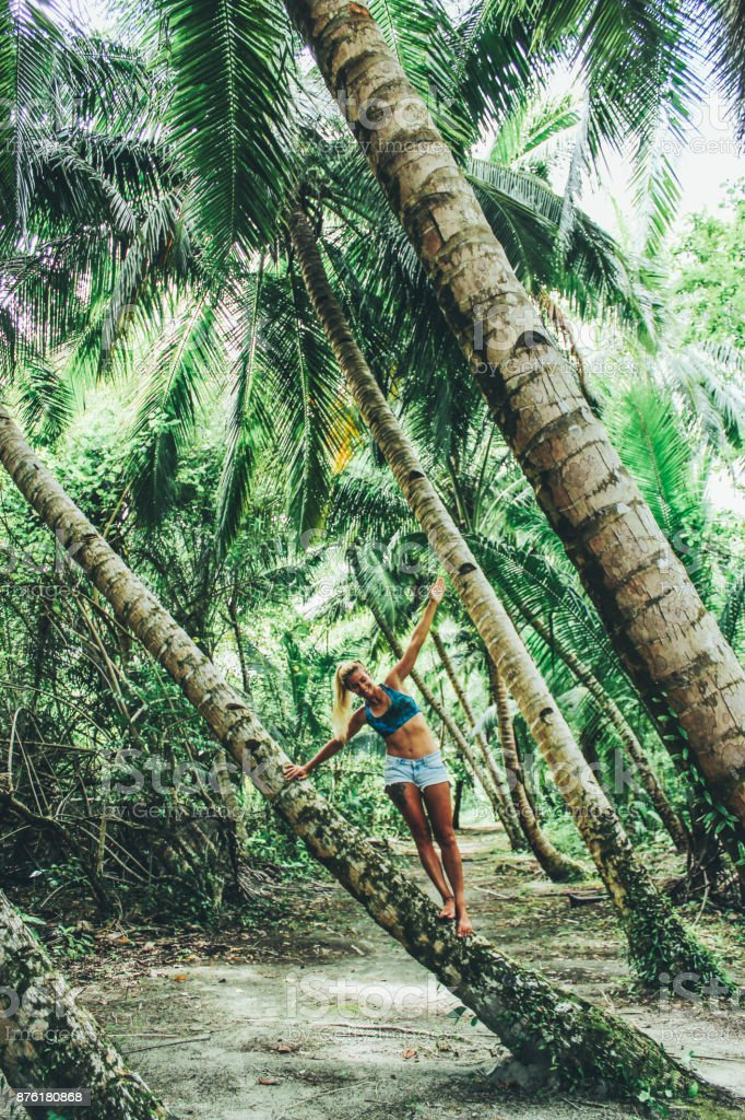 Young women yoga in the jungle stock photo