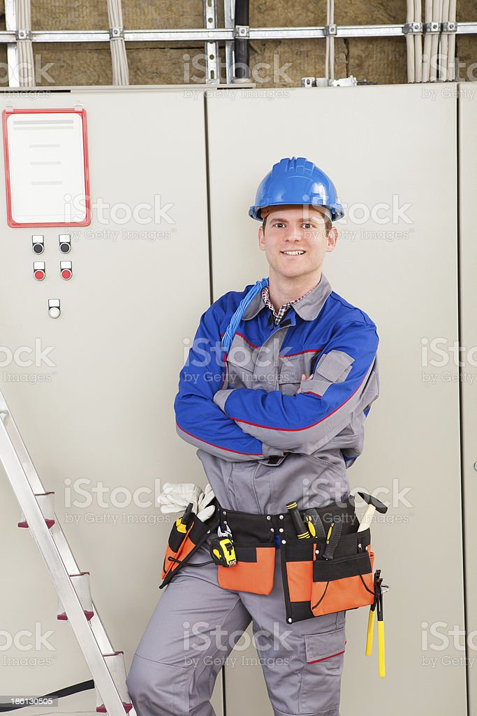 Young Worker Man With Hard Hat royalty-free stock photo