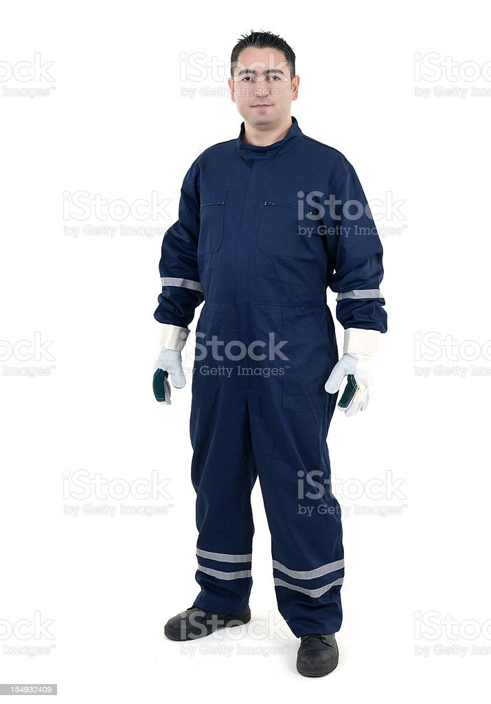 young worker on white background stock photo