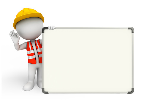 istock Young worker with display board 518814053