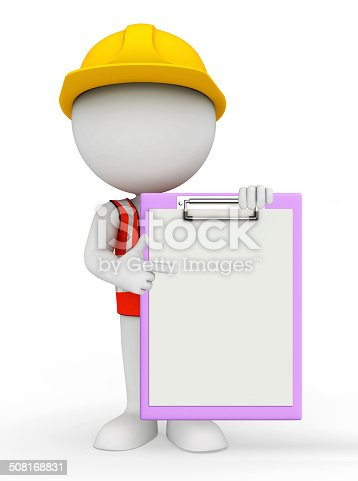 istock Young worker with notepad 508168831