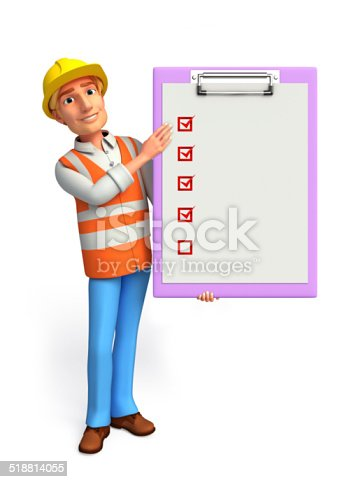 istock Young worker with notepad 518814055