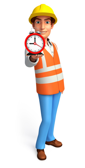 istock Young worker with table clock 507958893