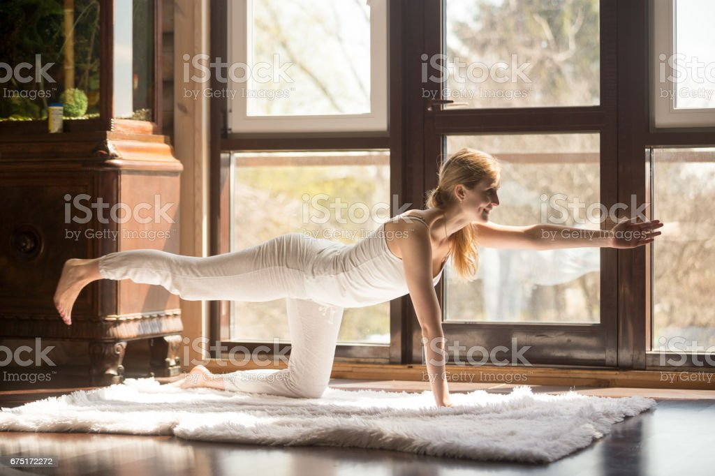 Young yogi attractive woman in Bird dog pose, home interior stock photo