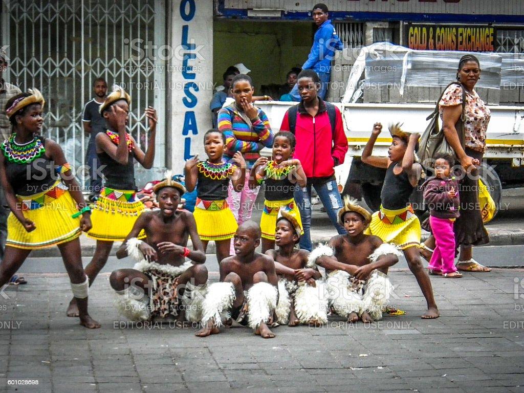 Young Zulu Children Kids Singing Dance Group Entertain Stock