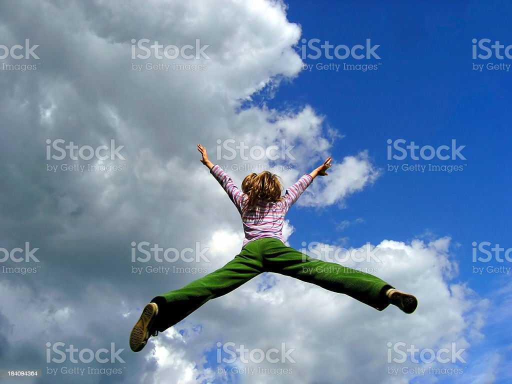younggirl's jump to sky (3) stock photo