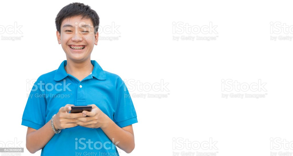Youngman use smartphone on isolate background. - foto de stock