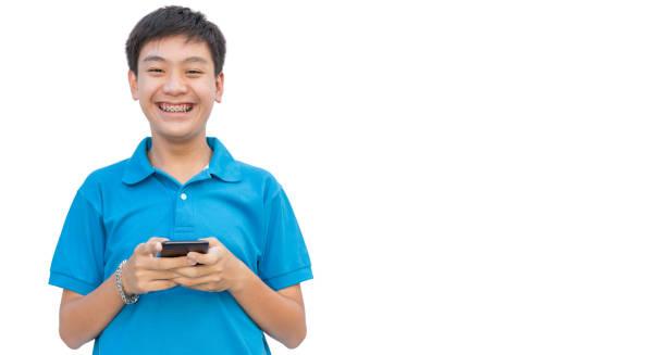 Youngman use smartphone on isolate background. stock photo