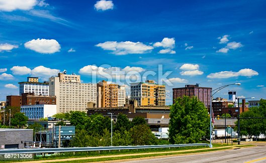 Downtown Youngstown skyline with a dramatic cloudscape of puffy white clouds with a deep blue sky backdrop.  Youngstown is part of the Mahoning Valley area.
