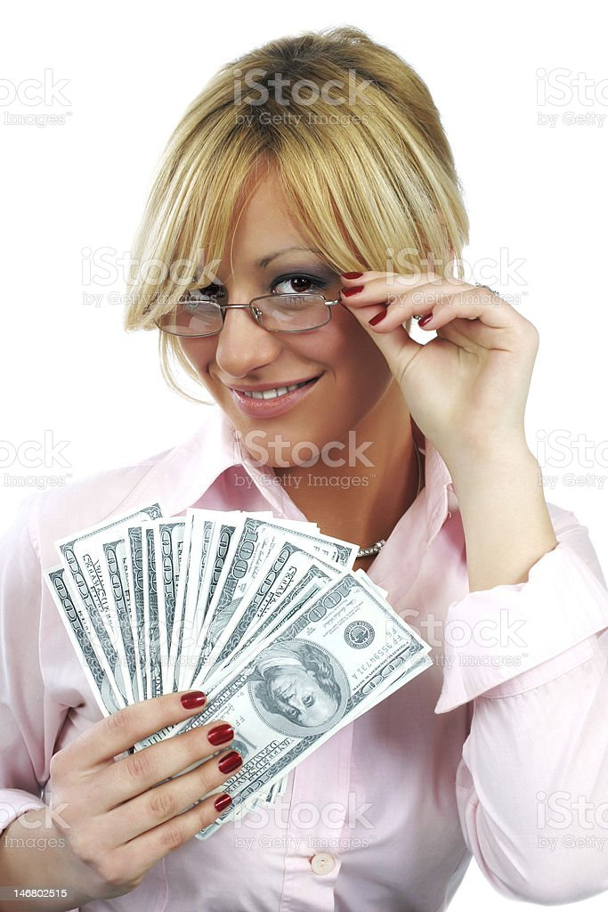 youns sexy business woman holding money royalty-free stock photo
