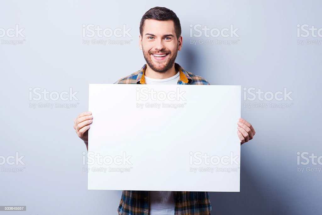 Your advertisement in good hands. stock photo