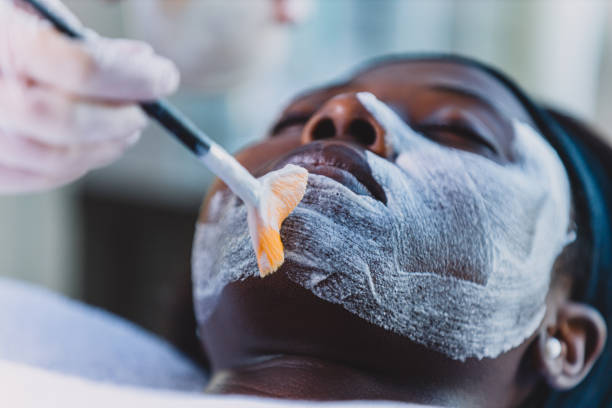 your beautiful face deserves all the treatment - chemical peel stock pictures, royalty-free photos & images