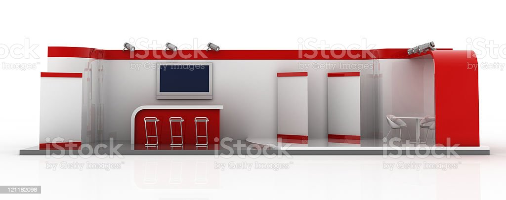 Your company blank trade exhibition stand (front view) stock photo