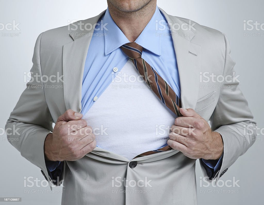 Your copyspace on the chest of a corporate hero royalty-free stock photo