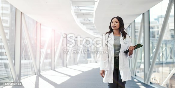 Shot of a female doctor walking through a hospital