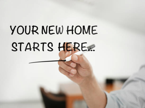 your home starts here - bankhaken stock-fotos und bilder