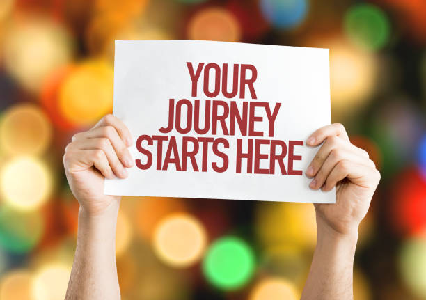 your journey starts here sign - beginnings stock photos and pictures