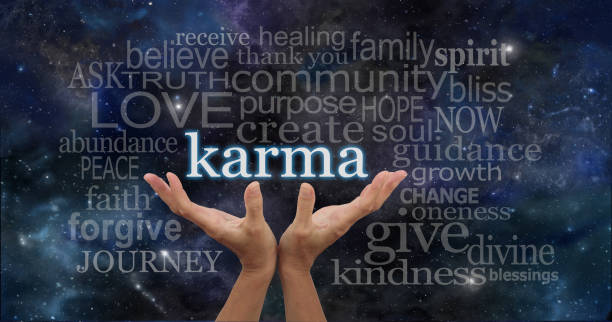Your Karma is in Your Hands Female hands cupped upwards with the word 'Karma' floating away surrounded by a relevant word cloud on a deep space night sky dark blue  background reincarnation stock pictures, royalty-free photos & images