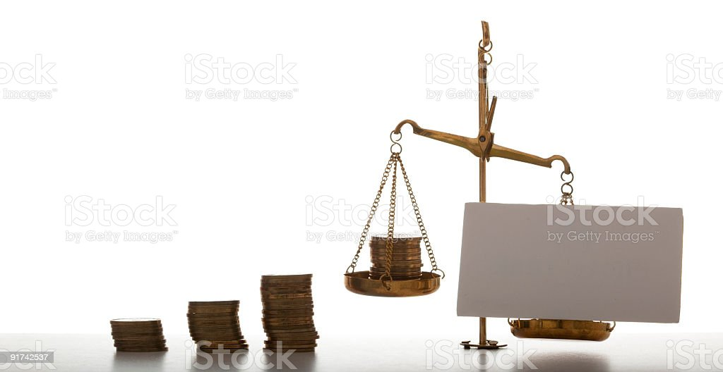 Your note vs. money scales royalty-free stock photo