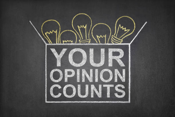 Your Opinion Counts Box Your opinion counts concept on blackboard questionnaire stock pictures, royalty-free photos & images