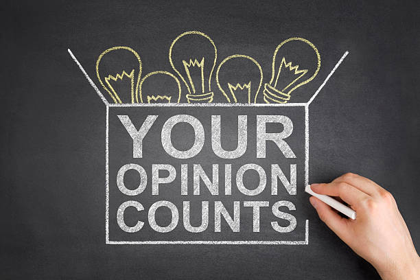 Your Opinion Counts Concept on Blackboard stock photo
