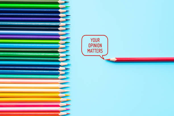 Your opinion matters. group of color share opinion on blue background stock photo