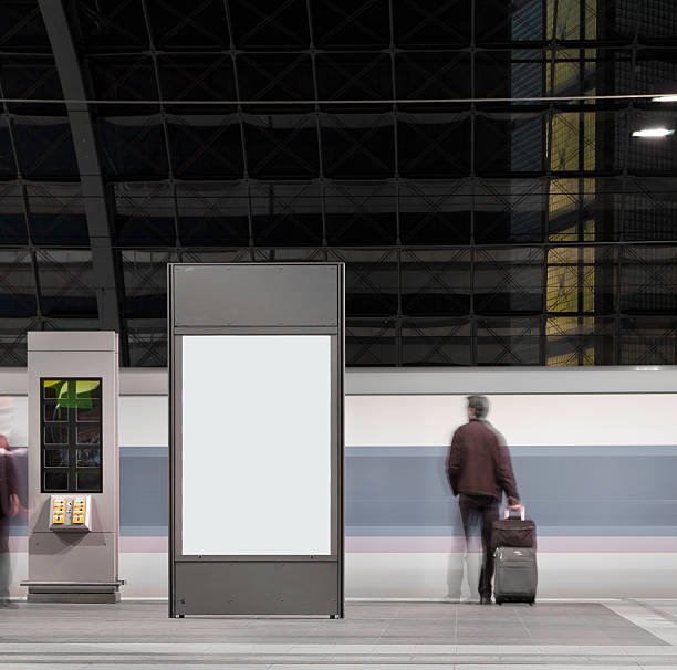 your own picture a billboard in front of a train railroad station platform stock pictures, royalty-free photos & images