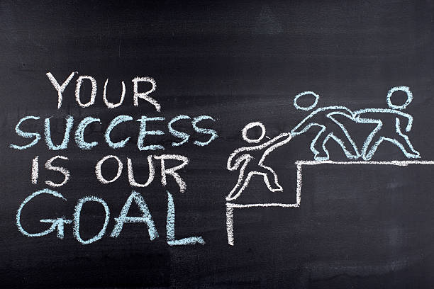 your success is our goal hand drawing on blackboard - practising stock photos and pictures