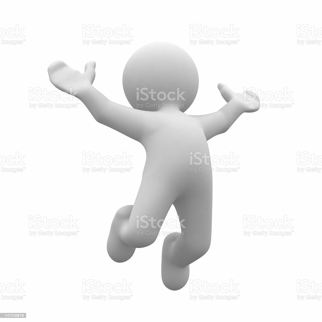 your success 3d human happy jump in air Activity Stock Photo