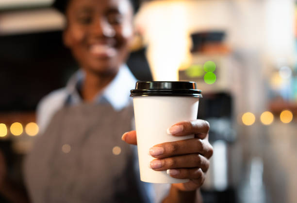 Your take-away coffee is ready! stock photo