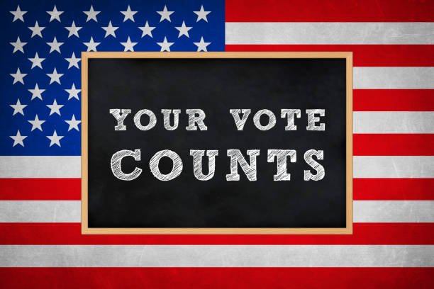 Your Vote Counts - chalkboard information stock photo